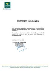 Certificat non allergene