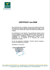 Certificat non OGM