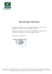 Non-allergen Certificate